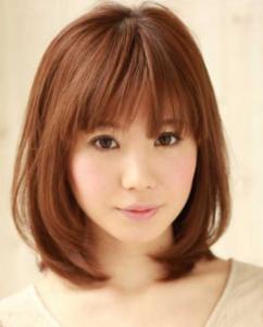 model rambut Poni Blunt Bangs
